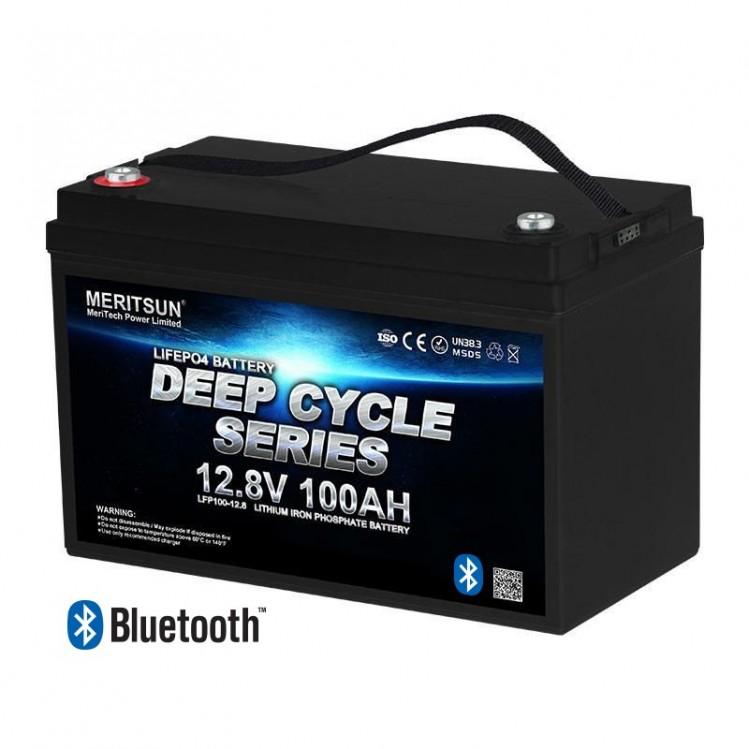 Meritsun 12V 100Ah Litiumbatteri med Bluetooth