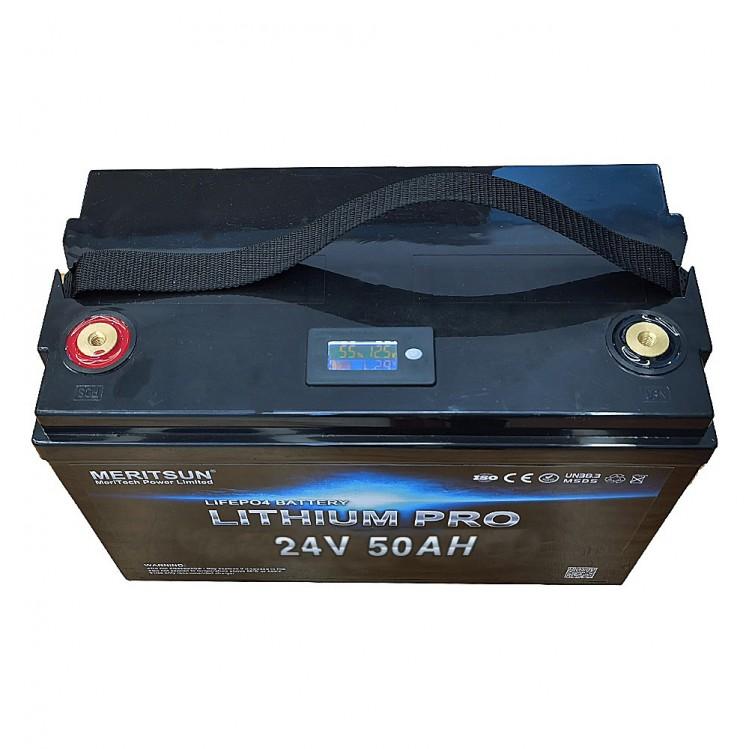Meritsun 24V 50Ah Litiumbatteri nu med display.