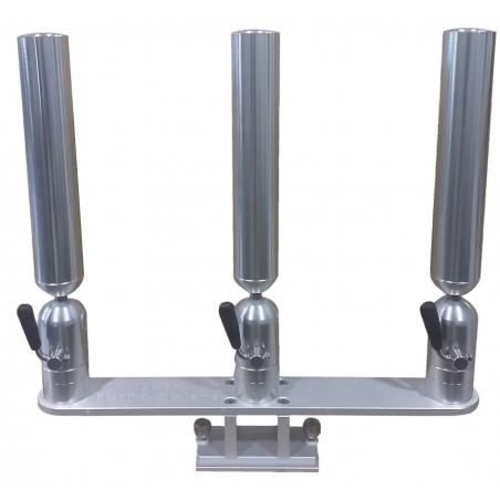 Cisco Triple Tube Holder on Trackmount - Trippel spöhållare silver